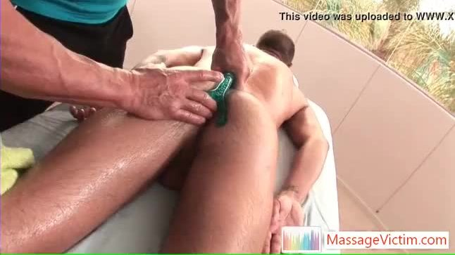 Tristan getting his asshole stuffed with massage tool by massagevictim